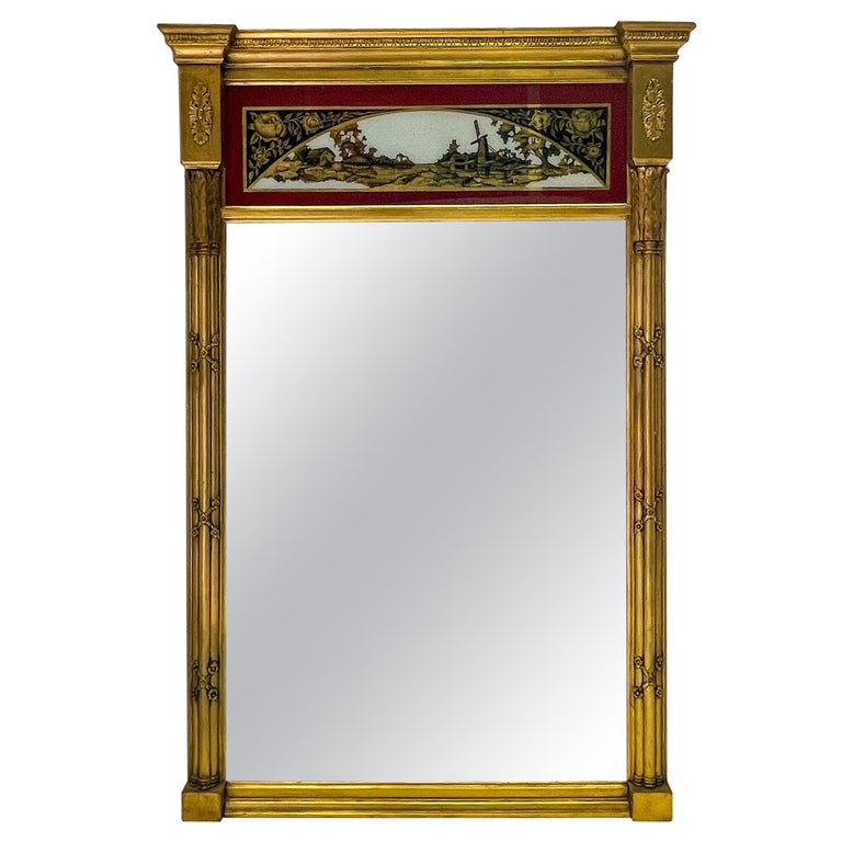 19th C. French Neoclassical Water Gilt Eglomise Trumeau Mirror For Sale