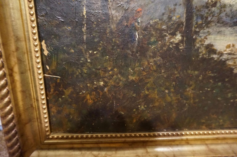 19th C. French Oil on Canvas Attributed to Jean-Baptise-Camille-Corot School For Sale 6