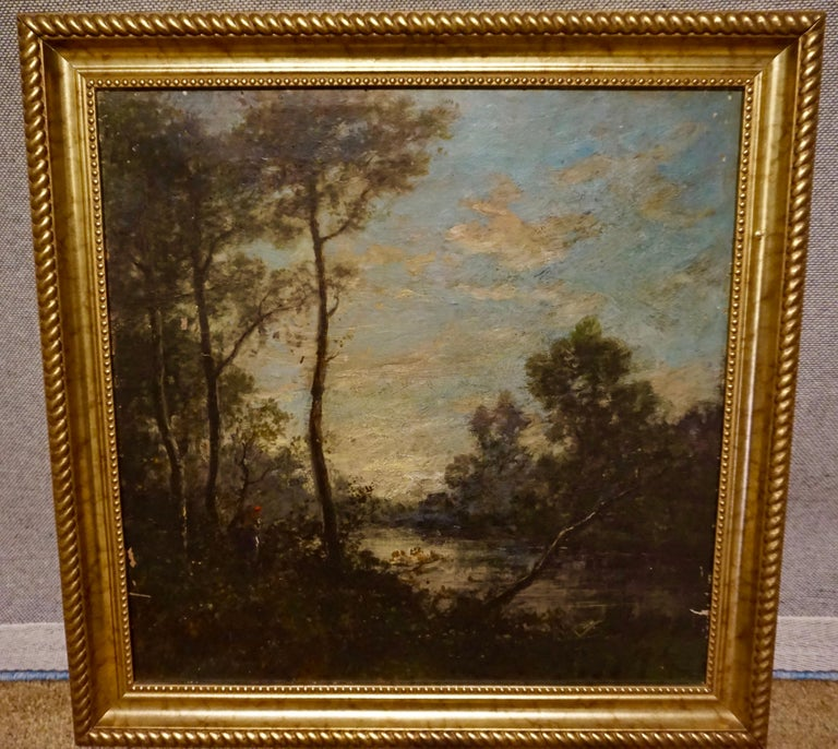 Oil on canvas painting attributed to the school of esteemed French painter Jean-Baptiste-Camille-Corot. Likely painted in his style by a student and signed by him. Signature present. Lovely old patina. Some scratches on canvas as photographed.