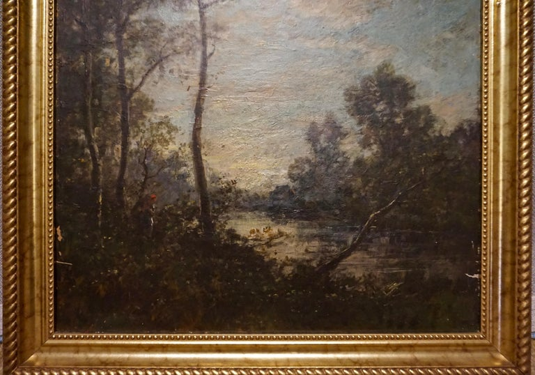 Neoclassical 19th C. French Oil on Canvas Attributed to Jean-Baptise-Camille-Corot School For Sale