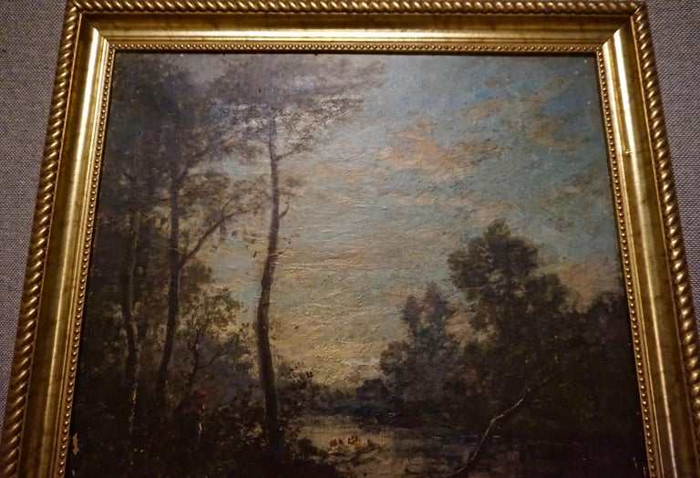 Painted 19th C. French Oil on Canvas Attributed to Jean-Baptise-Camille-Corot School For Sale