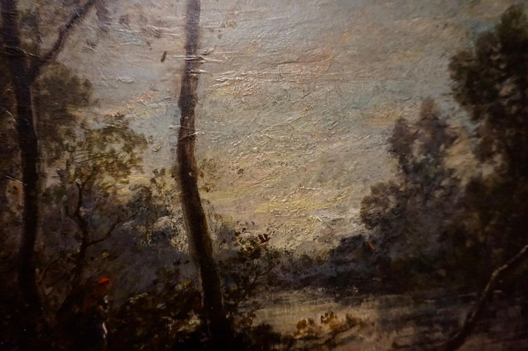 Mid-19th Century 19th C. French Oil on Canvas Attributed to Jean-Baptise-Camille-Corot School For Sale