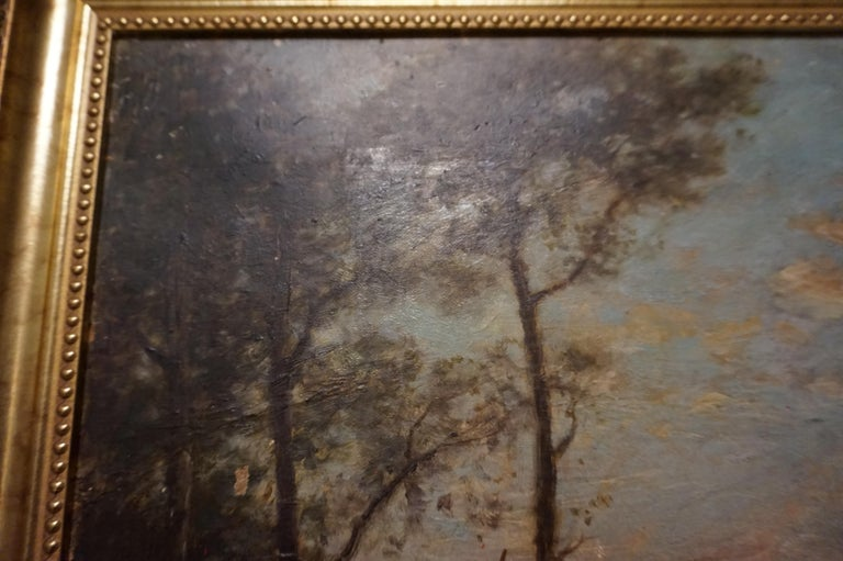 19th C. French Oil on Canvas Attributed to Jean-Baptise-Camille-Corot School For Sale 3