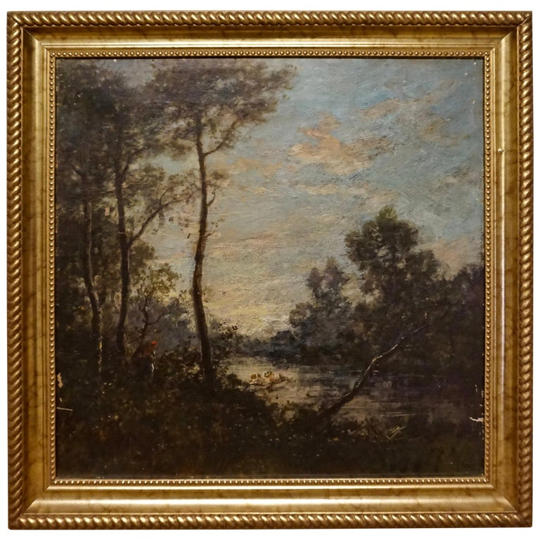 19th C. French Oil on Canvas Attributed to Jean-Baptise-Camille-Corot School For Sale