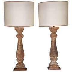 19th Century French Original Patina Wood Baluster Halves as Table Lamps