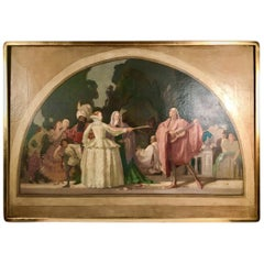 19th Century French Painting Oil/Canvas Attributed to Pierre Puvis de Chavannes