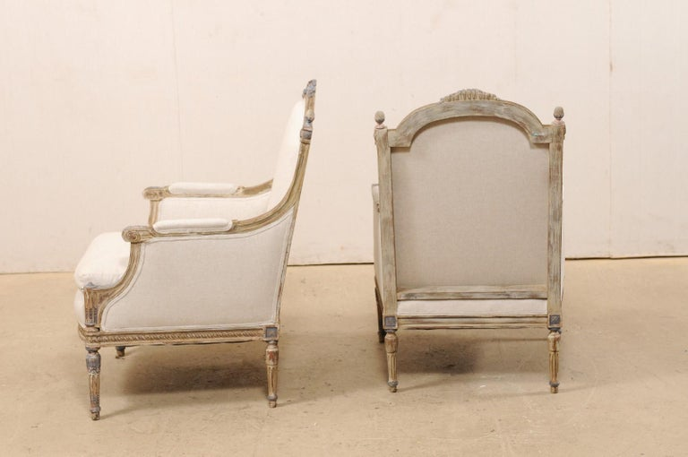 19th Century French Pair of Louis XVI Style Bergère Chairs, Newly Upholstered For Sale 6