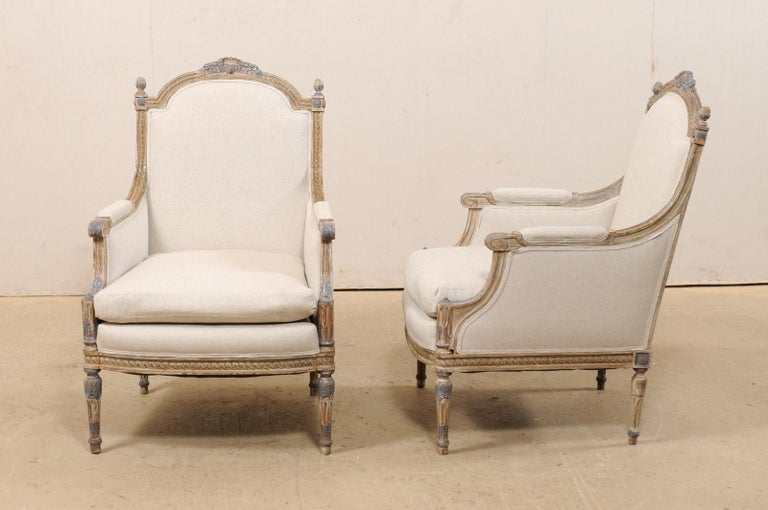 19th Century French Pair of Louis XVI Style Bergère Chairs, Newly Upholstered For Sale 7