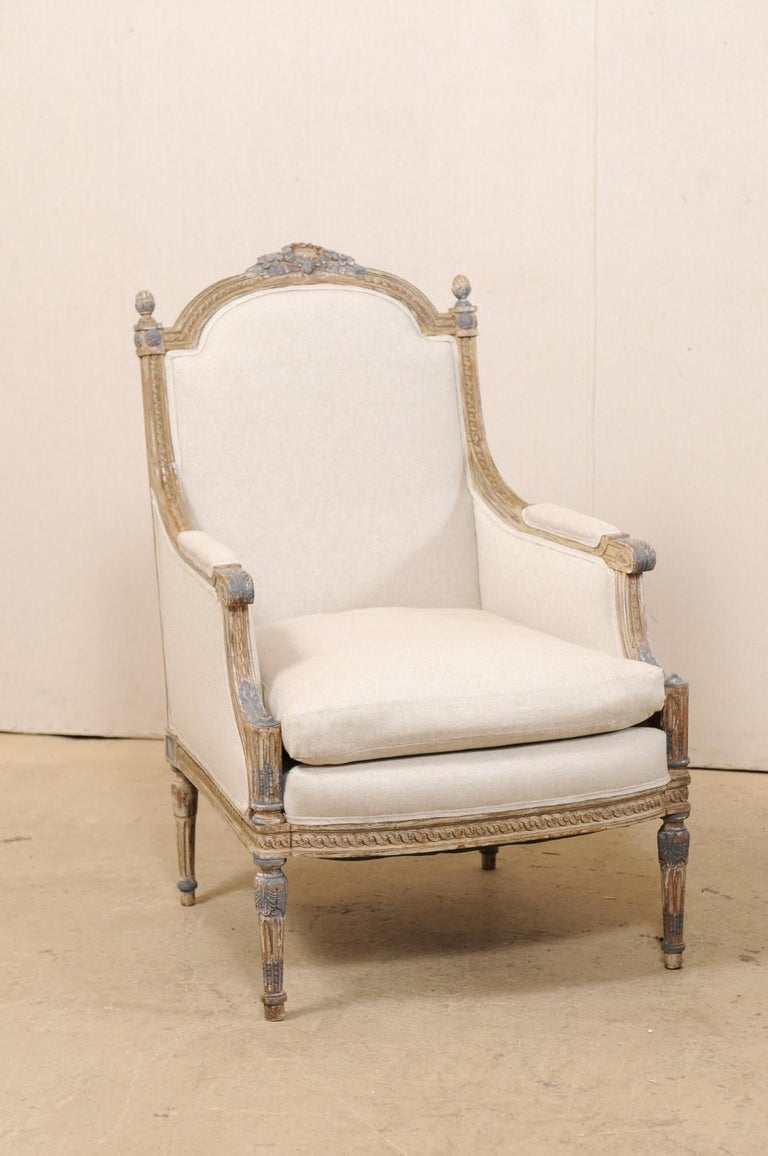 Upholstery 19th Century French Pair of Louis XVI Style Bergère Chairs, Newly Upholstered For Sale