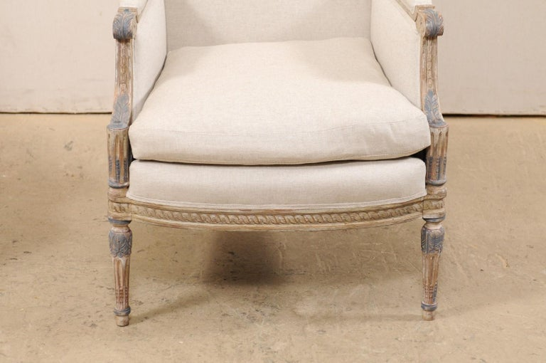 19th Century French Pair of Louis XVI Style Bergère Chairs, Newly Upholstered For Sale 1