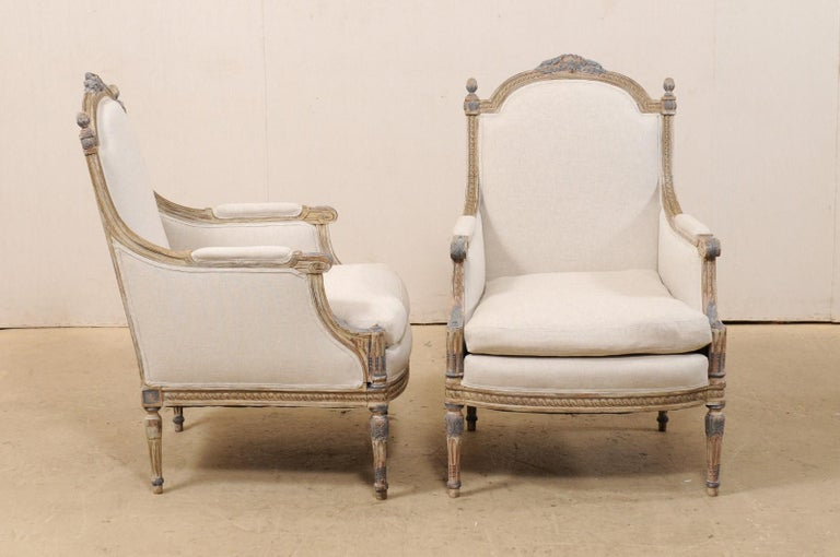 19th Century French Pair of Louis XVI Style Bergère Chairs, Newly Upholstered For Sale 3