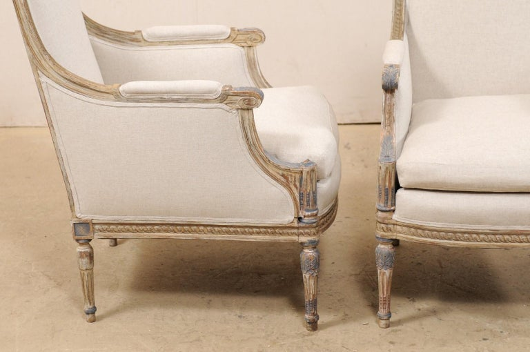 19th Century French Pair of Louis XVI Style Bergère Chairs, Newly Upholstered For Sale 4