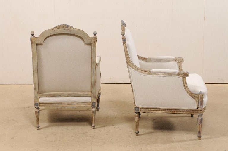 19th Century French Pair of Louis XVI Style Bergère Chairs, Newly Upholstered For Sale 5