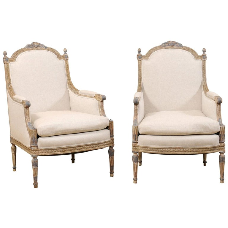 19th Century French Pair of Louis XVI Style Bergère Chairs, Newly Upholstered For Sale