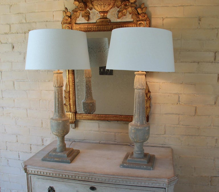 19th C French Pair of Painted Balustrades as Table Lamps For Sale 8