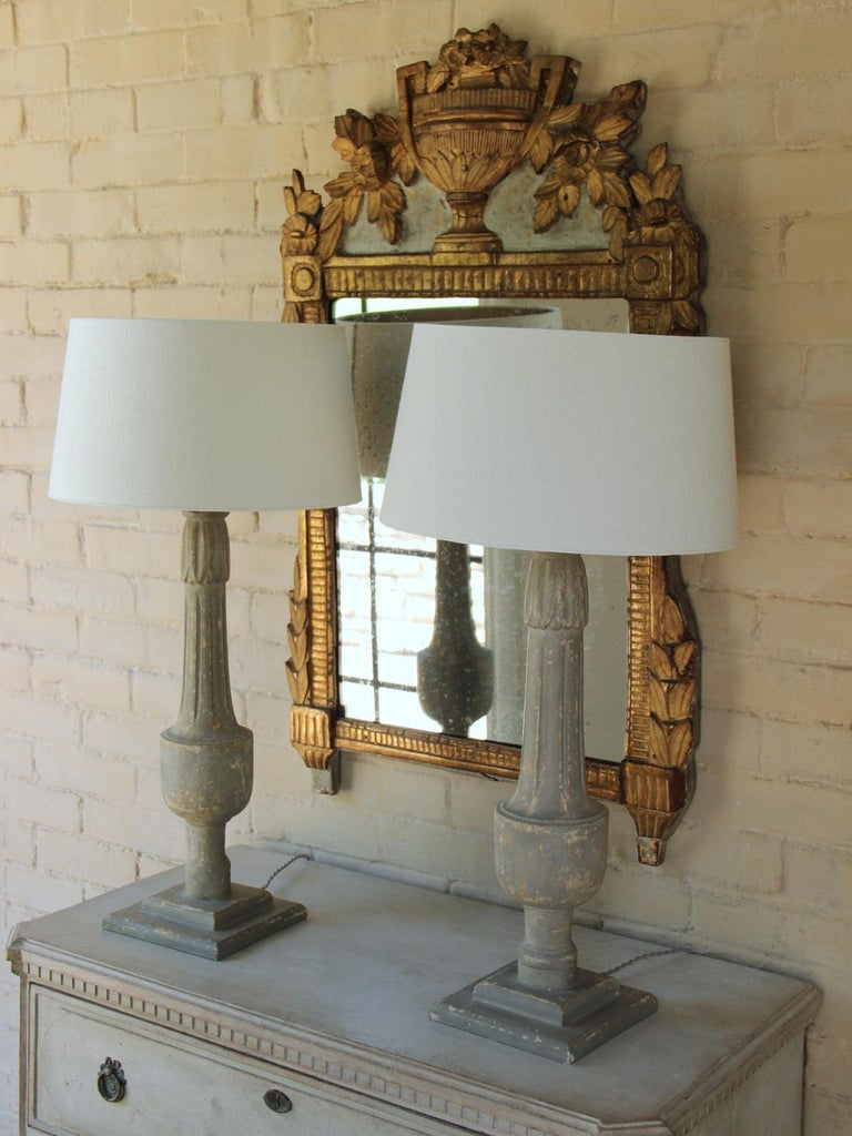 19th Century 19th C French Pair of Painted Balustrades as Table Lamps For Sale
