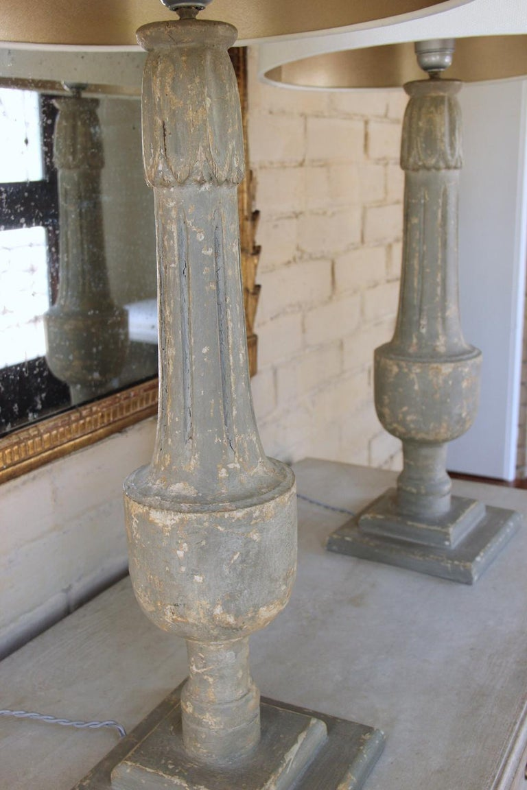 19th C French Pair of Painted Balustrades as Table Lamps For Sale 1