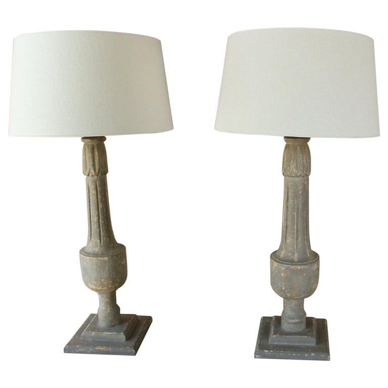 19th C French Pair of Painted Balustrades as Table Lamps For Sale