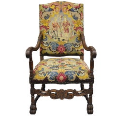 French Renaissance Needlepoint Upholstery Carved Walnut Throne Armchair