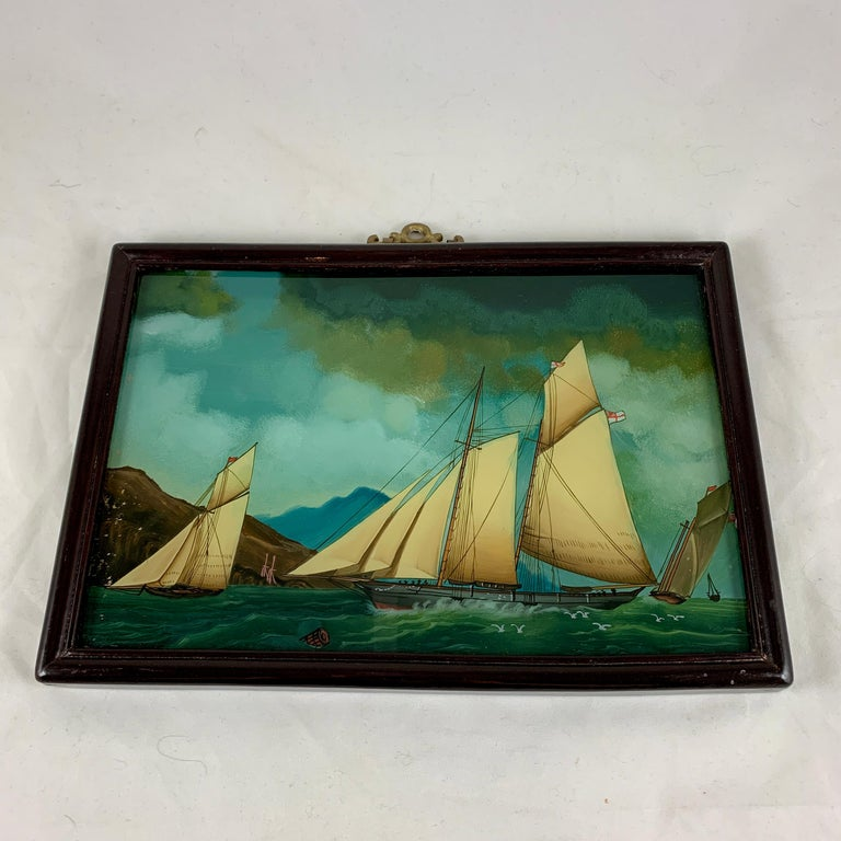 19th C. French Reverse Glass Sailboat Framed Painting, Voiliers Sur la Mer For Sale 4