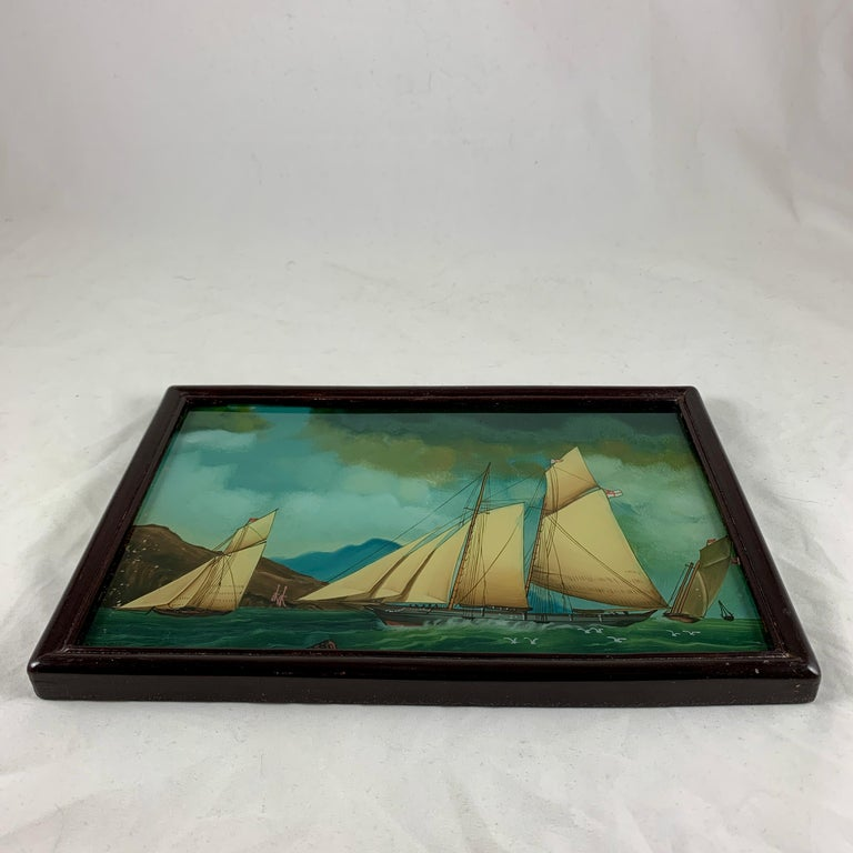 19th C. French Reverse Glass Sailboat Framed Painting, Voiliers Sur la Mer For Sale 5