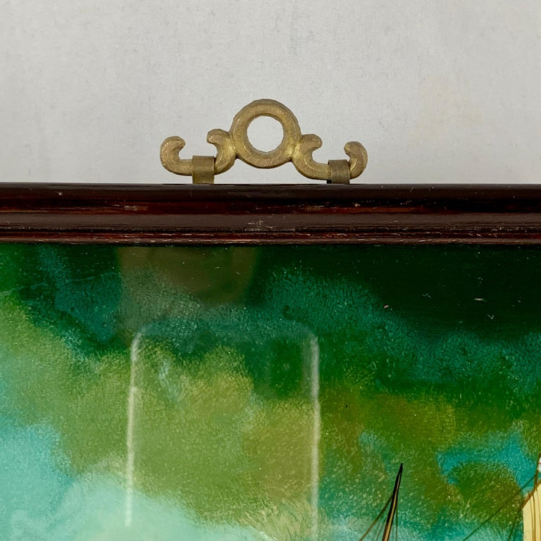 19th C. French Reverse Glass Sailboat Framed Painting, Voiliers Sur la Mer For Sale 6