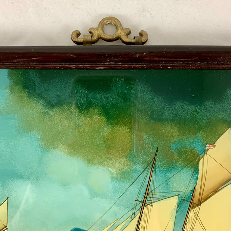 19th C. French Reverse Glass Sailboat Framed Painting, Voiliers Sur la Mer For Sale 8