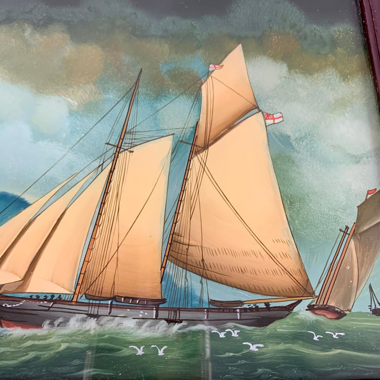 Lacquered 19th C. French Reverse Glass Sailboat Framed Painting, Voiliers Sur la Mer For Sale