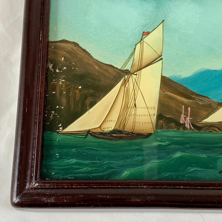 19th C. French Reverse Glass Sailboat Framed Painting, Voiliers Sur la Mer For Sale 1