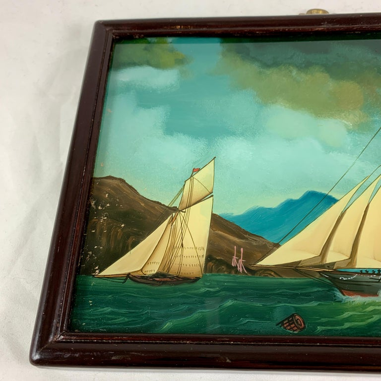 19th C. French Reverse Glass Sailboat Framed Painting, Voiliers Sur la Mer For Sale 2
