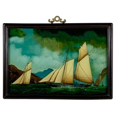 19th C. French Reverse Glass Sailboat Framed Painting, Voiliers Sur la Mer