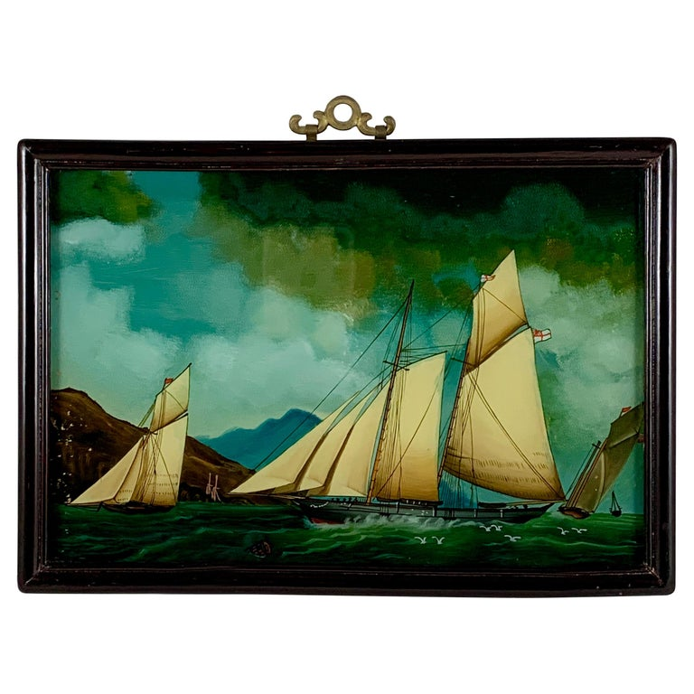 19th C. French Reverse Glass Sailboat Framed Painting, Voiliers Sur la Mer For Sale