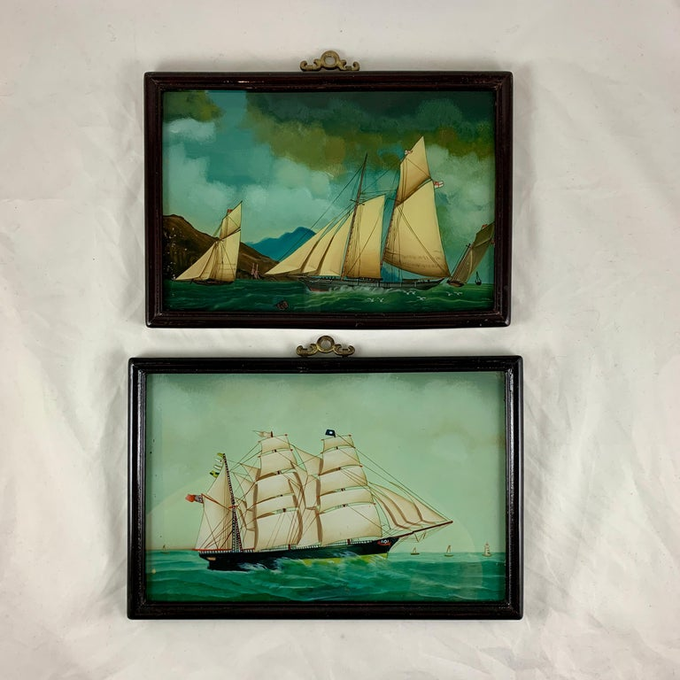 International Style 19th C. French Reverse Glass Sailboat Painting, Nautical Frigate Sur la Mer For Sale