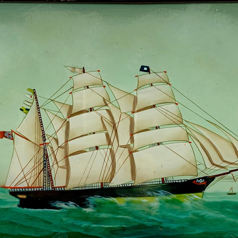Lacquered 19th C. French Reverse Glass Sailboat Painting, Nautical Frigate Sur la Mer For Sale
