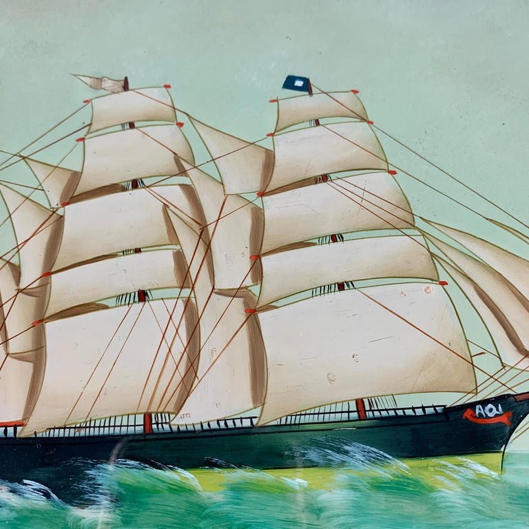 19th C. French Reverse Glass Sailboat Painting, Nautical Frigate Sur la Mer In Good Condition For Sale In Philadelphia, PA