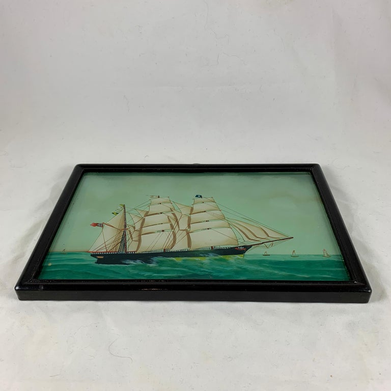 19th Century 19th C. French Reverse Glass Sailboat Painting, Nautical Frigate Sur la Mer For Sale