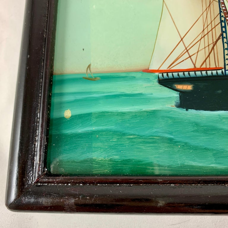 19th C. French Reverse Glass Sailboat Painting, Nautical Frigate Sur la Mer For Sale 1