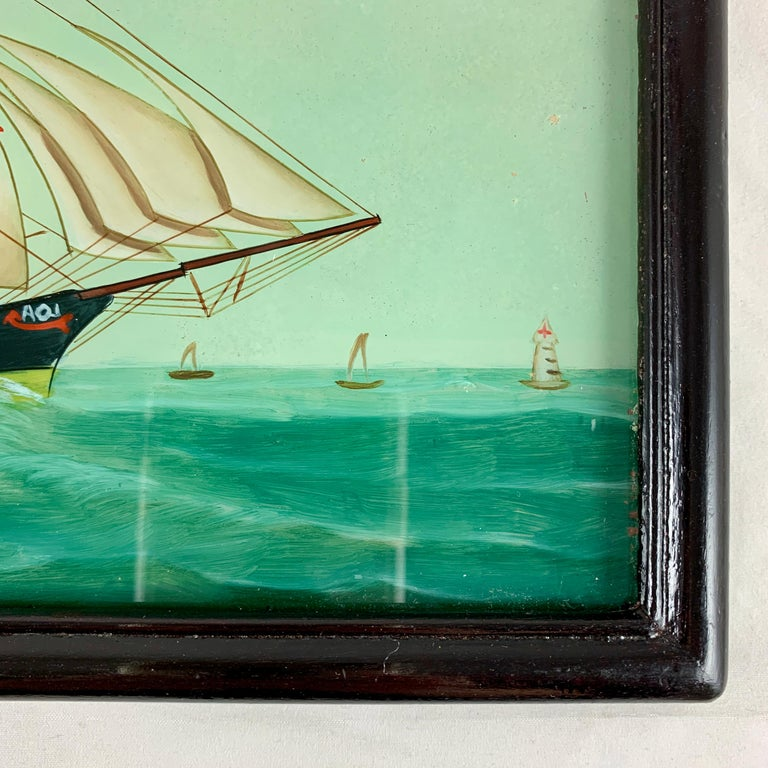 19th C. French Reverse Glass Sailboat Painting, Nautical Frigate Sur la Mer For Sale 2