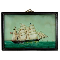 19th C. French Reverse Glass Sailboat Painting, Nautical Frigate Sur la Mer
