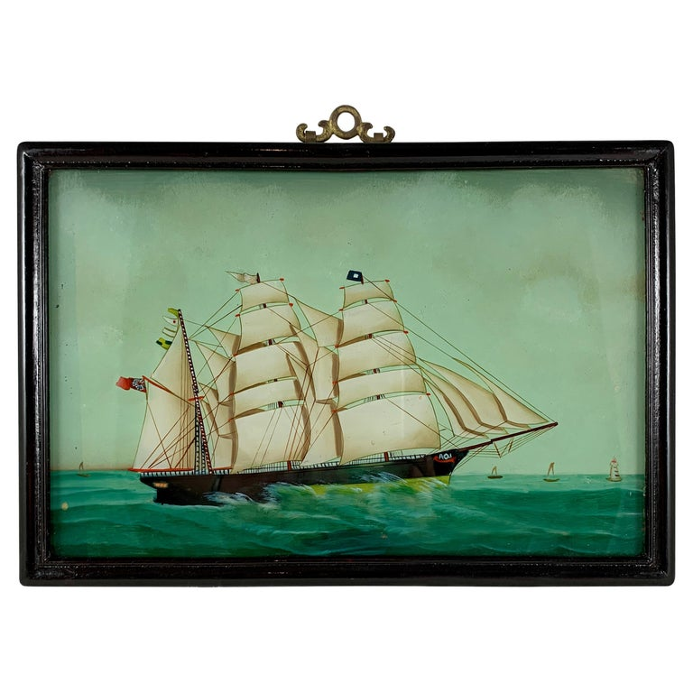 19th C. French Reverse Glass Sailboat Painting, Nautical Frigate Sur la Mer For Sale