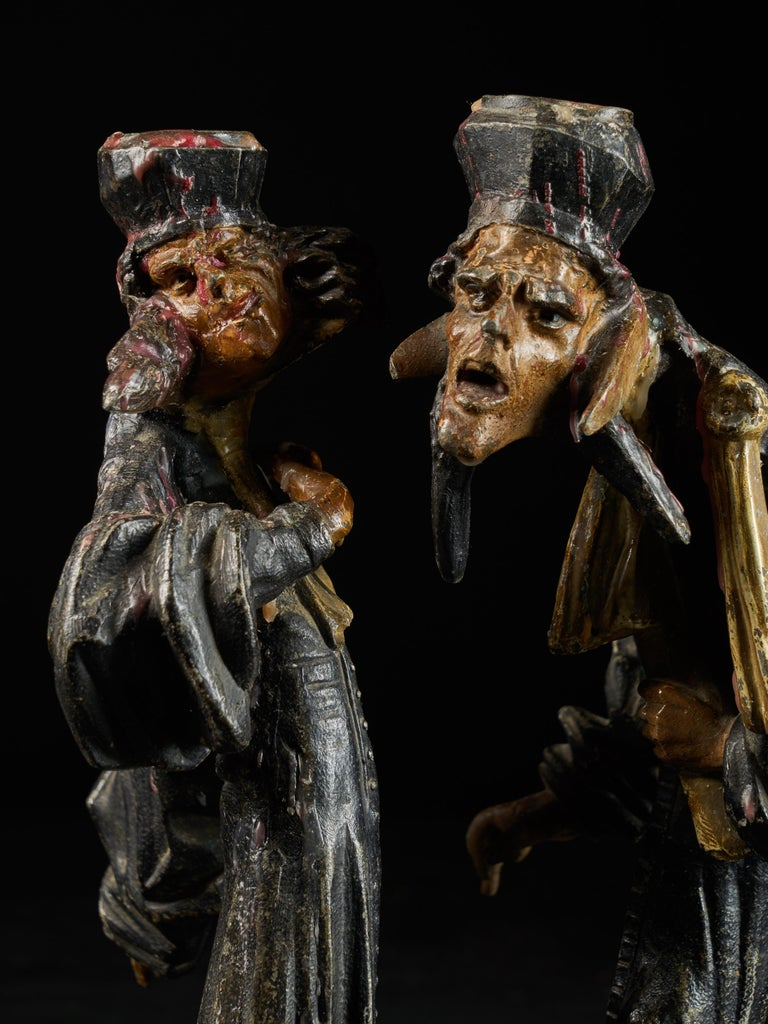 19th Century, French School, Caricatures of Two Pleading Lawyers, Bronze Alloy In Fair Condition For Sale In Leuven , BE