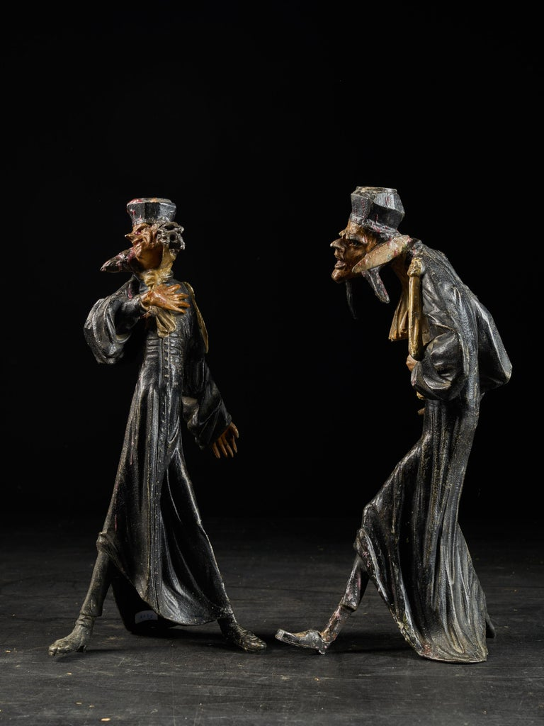 20th Century 19th Century, French School, Caricatures of Two Pleading Lawyers, Bronze Alloy For Sale