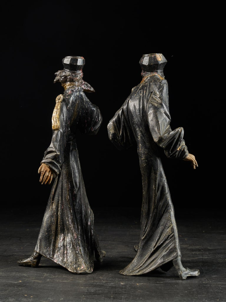 Metal 19th Century, French School, Caricatures of Two Pleading Lawyers, Bronze Alloy For Sale