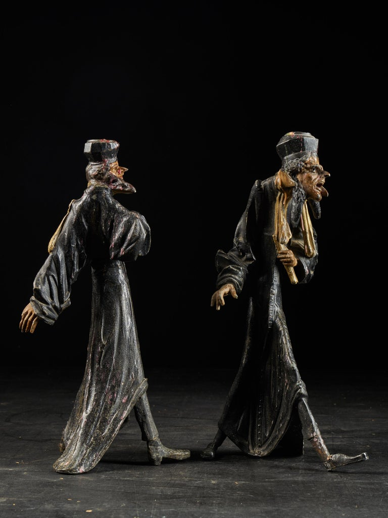 19th Century, French School, Caricatures of Two Pleading Lawyers, Bronze Alloy For Sale 1