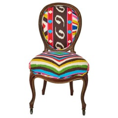 19th c. French Side Chair with Cabriole Legs Upholstered in Terrence Ikat Fabric