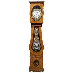 19th C French Tall Case Morbier Clock or Comtoise Signed B. Bignon à la Martigné