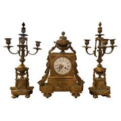19th Century French Three-Piece Clock Set  Garniture by Masion P