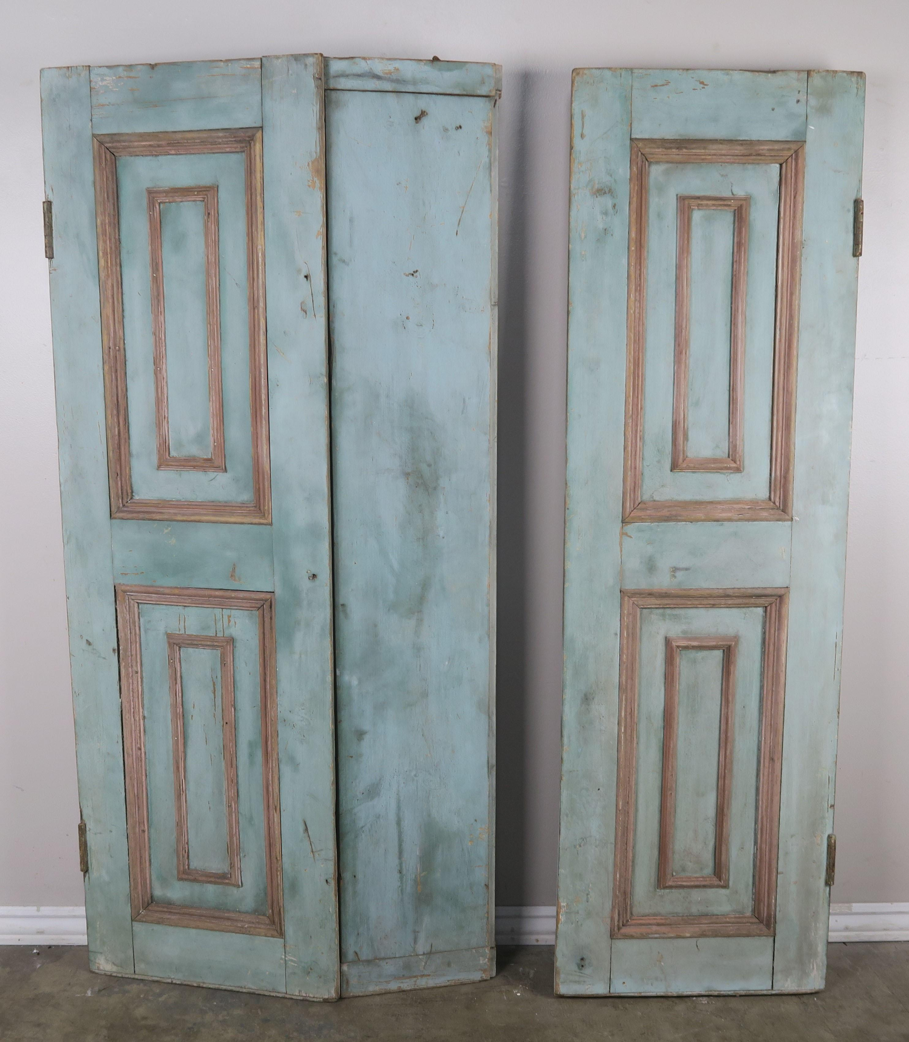 19th Century French Wood Painted Window Shutters Pair