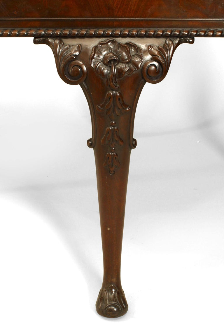 19th Century English Chippendale Mahogany Marble Center Table For Sale