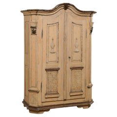 19th C. German Tall Storage Cabinet w/ Arched Cornice & Decorative Carvings